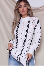 Runaway The Label Thirdbase Knit Sweater - White - Front full body