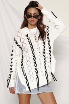 Shoptiques Product: Runaway The Label Thirdbase Knit Sweater - White