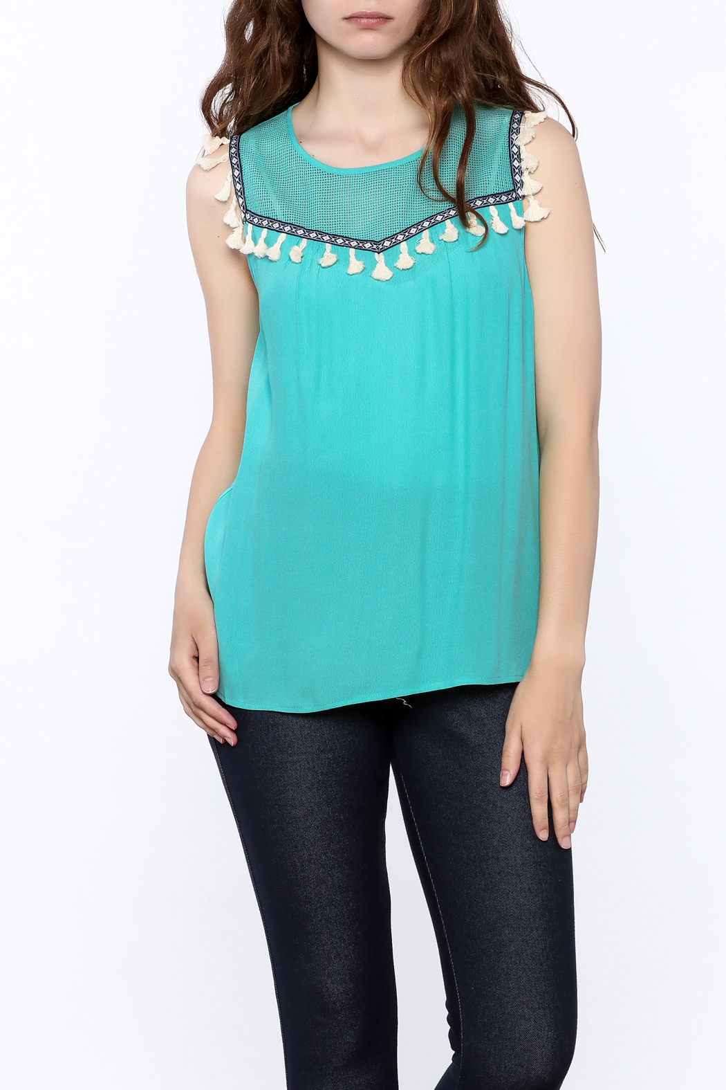 THML Clothing Aqua Tassel Top - Front Cropped Image