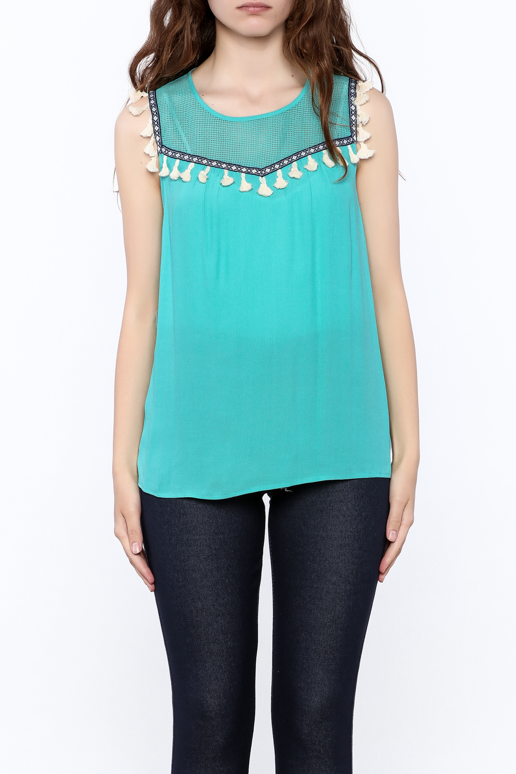 THML Clothing Aqua Tassel Top - Side Cropped Image