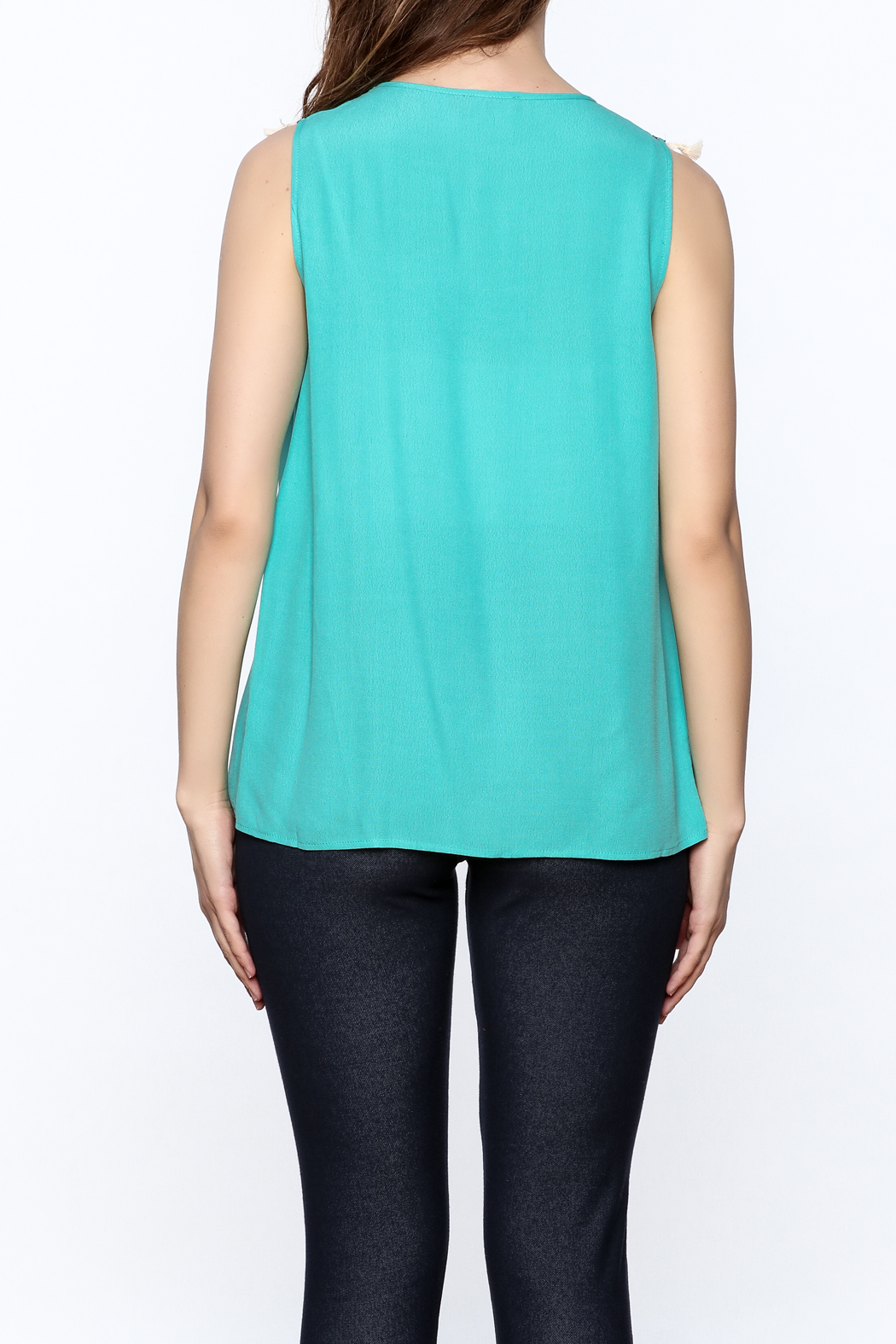 THML Clothing Aqua Tassel Top - Back Cropped Image