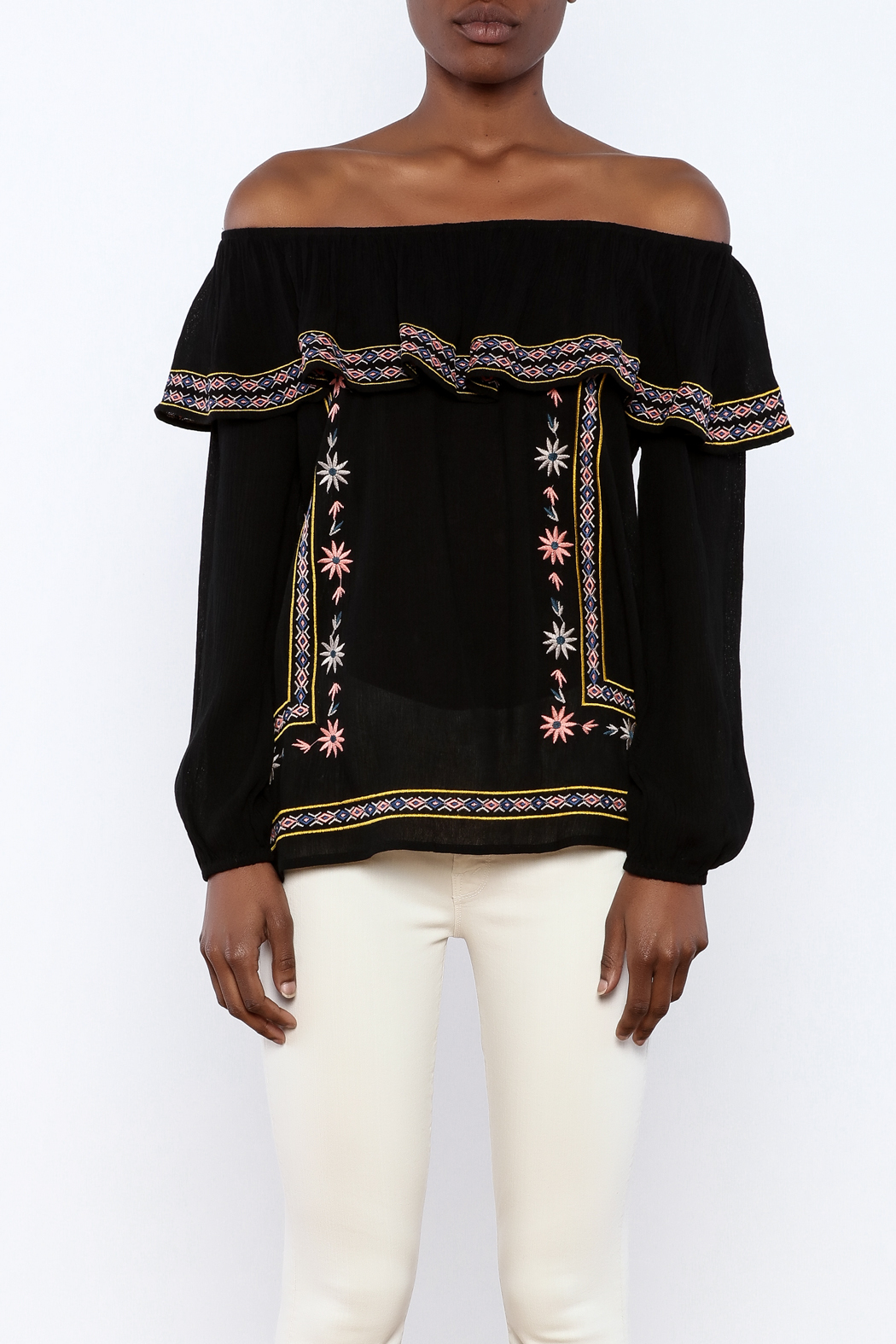 THML Clothing Black Embroidered Blouse - Side Cropped Image