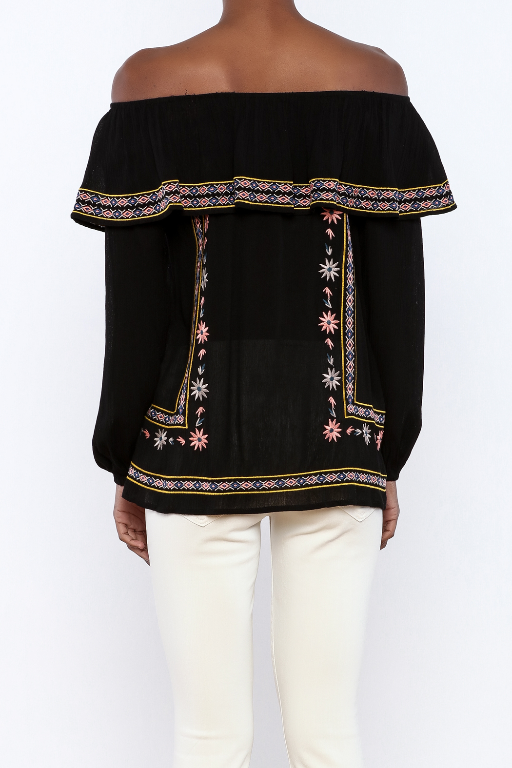 THML Clothing Black Embroidered Blouse - Back Cropped Image