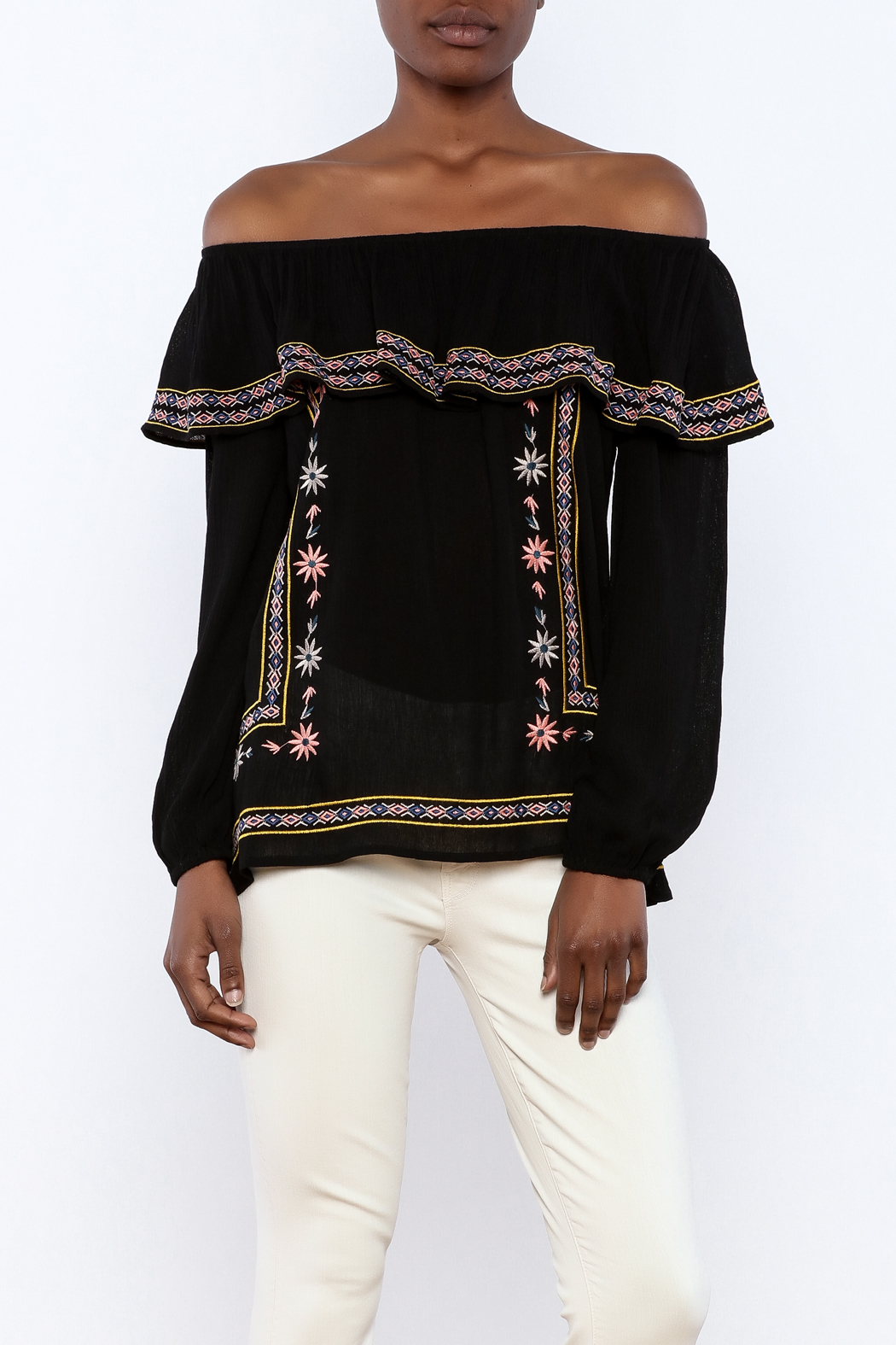 THML Clothing Black Embroidered Blouse - Main Image