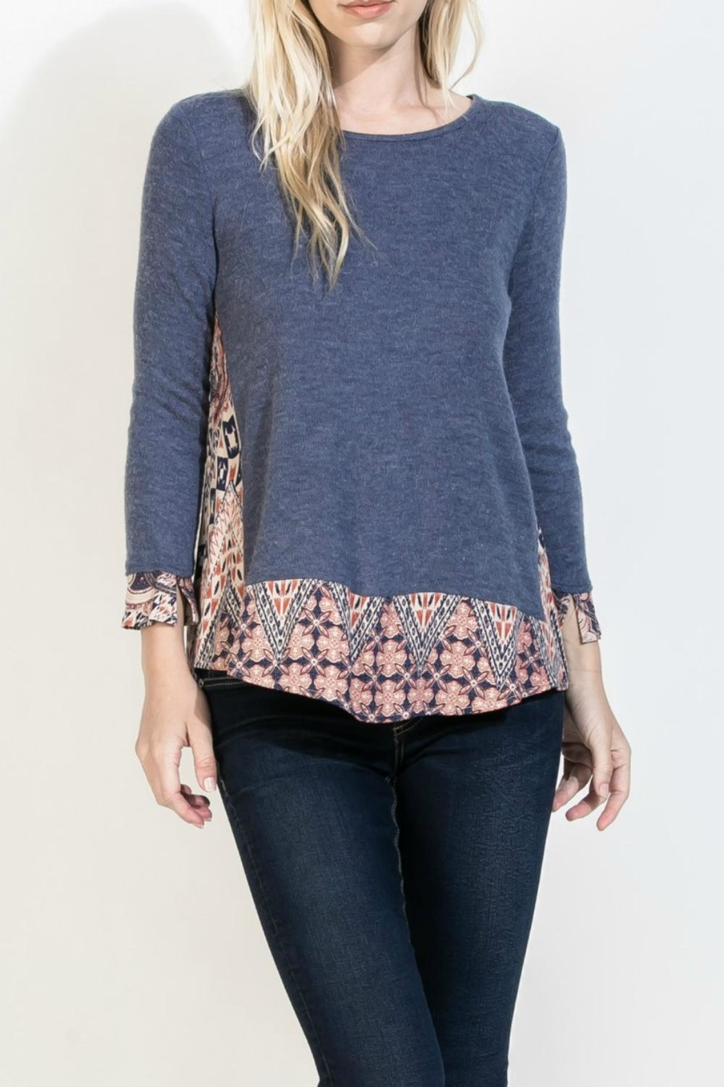 THML Clothing Blue Mosaic Top - Main Image