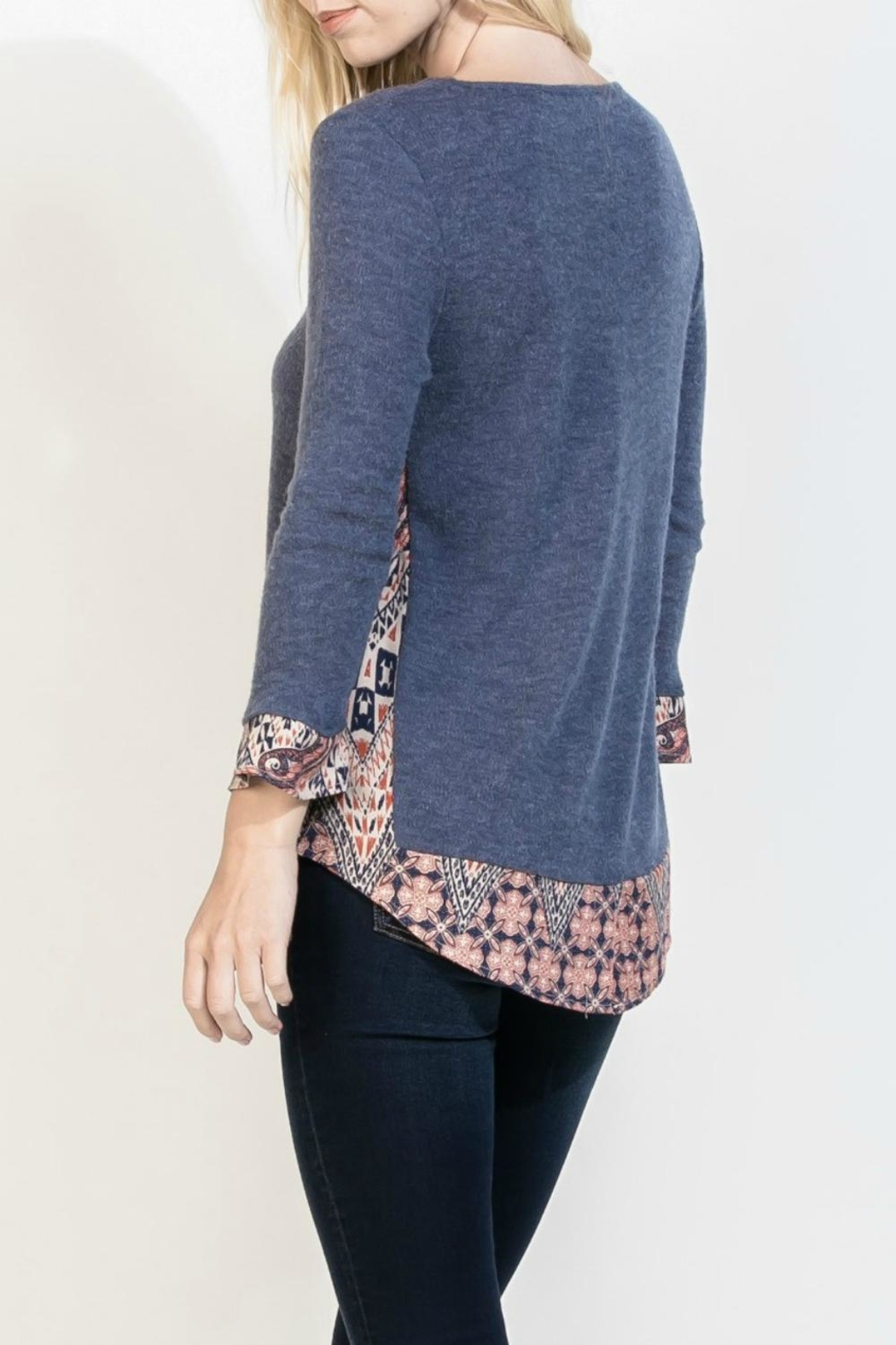 THML Clothing Blue Mosaic Top - Front Full Image