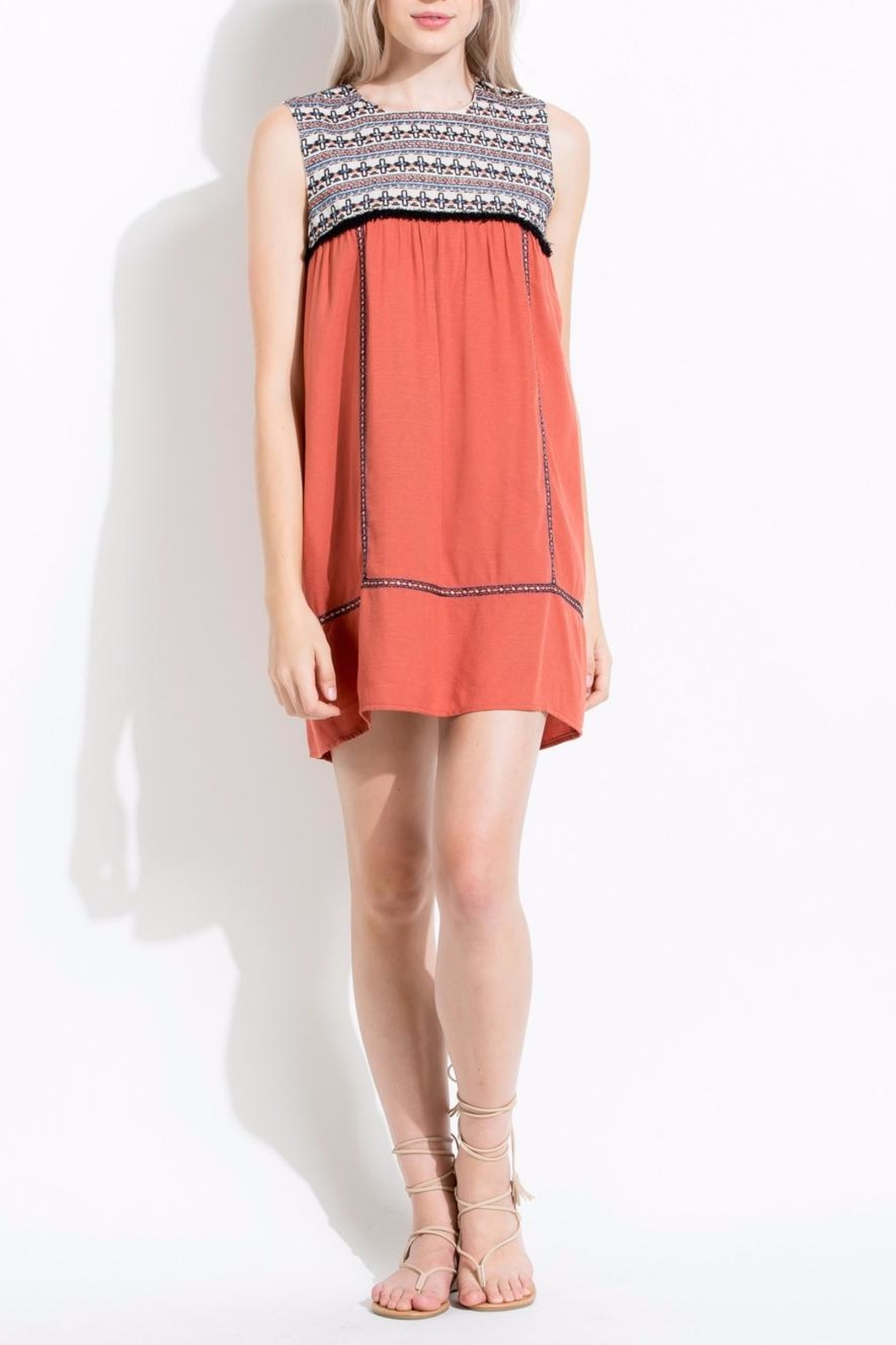 Thml Coral Embroidered Dress - Main Image