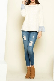 Thml Cream Ruffle Cuff - Front cropped
