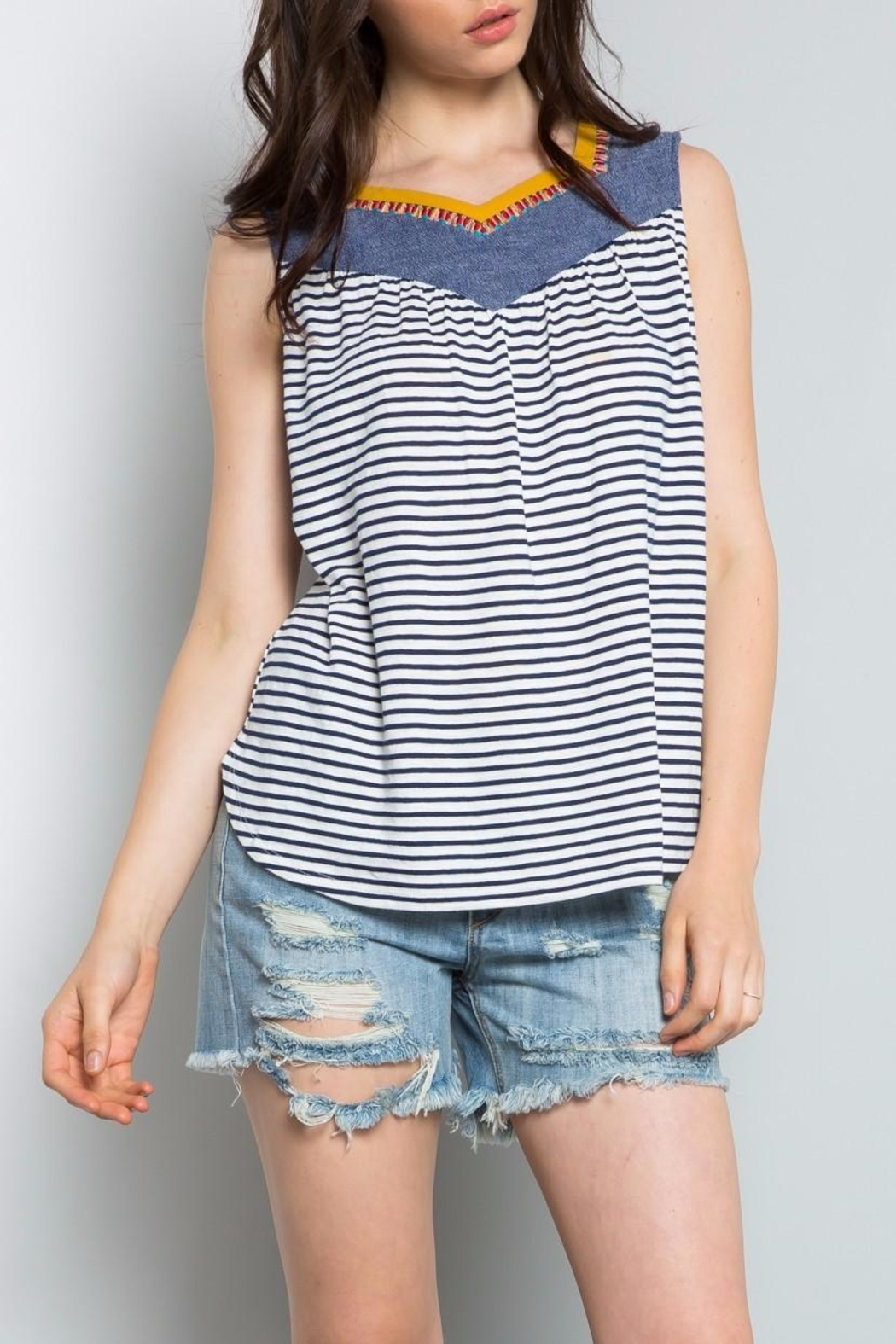 Thml Denim Embroidered Top - Main Image