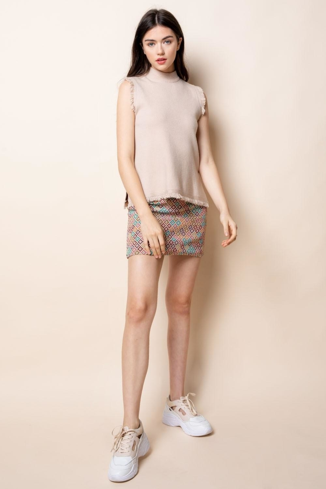 Thml Embroidered Knit Skirt - Front Full Image