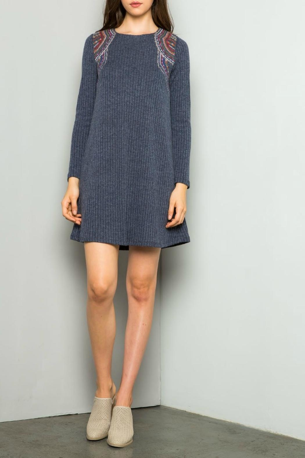 Thml Embroidered Rib Dress - Main Image