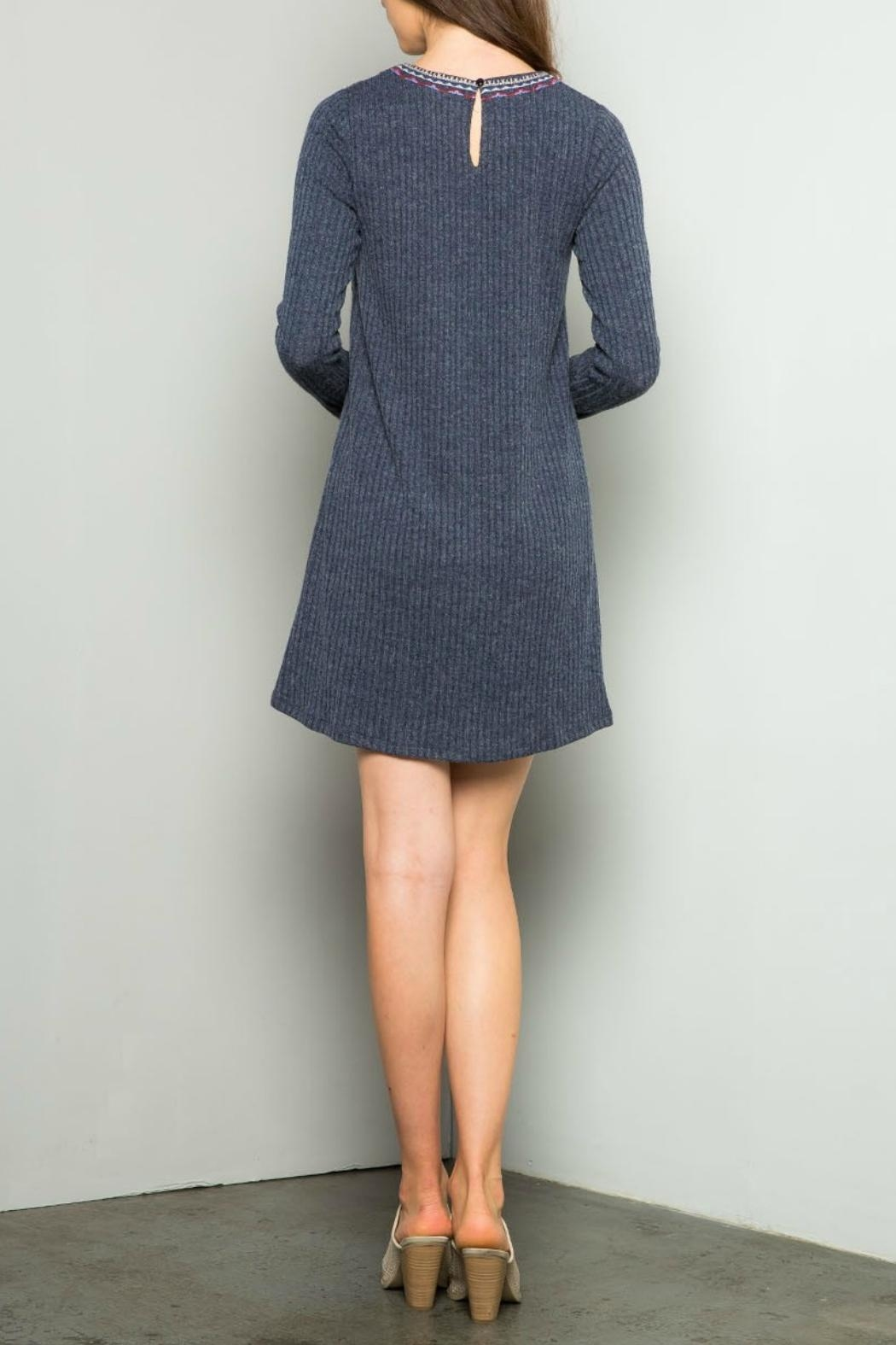 Thml Embroidered Rib Dress - Front Full Image
