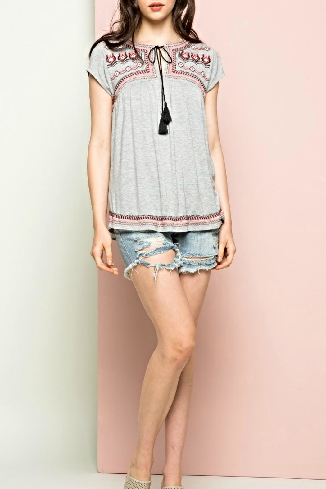 THML Clothing Embroidered Tie Top - Main Image