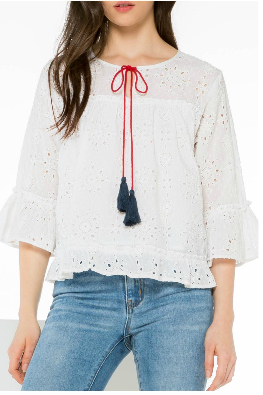 THML Clothing Eyelet Pullover Top - Front Full Image