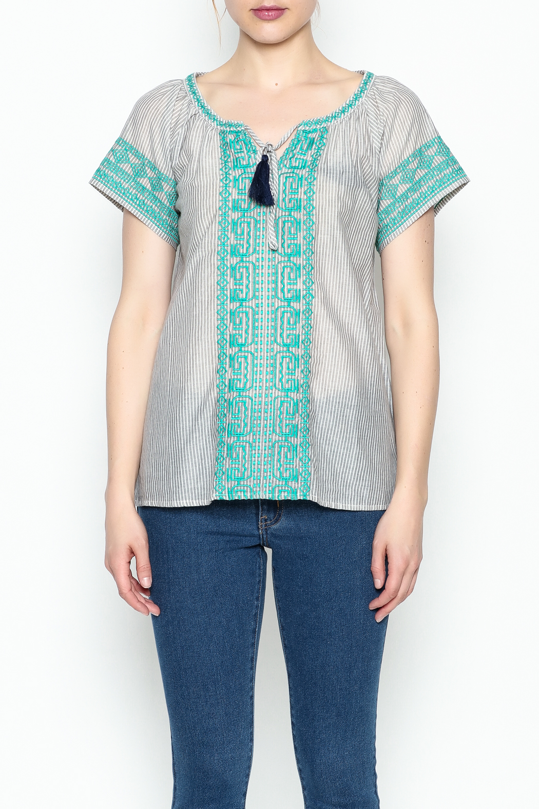 THML Clothing Gray Peasant Top - Front Full Image
