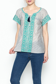 THML Clothing Gray Peasant Top - Front cropped