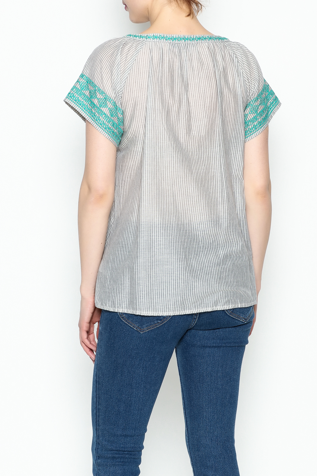 THML Clothing Gray Peasant Top - Back Cropped Image