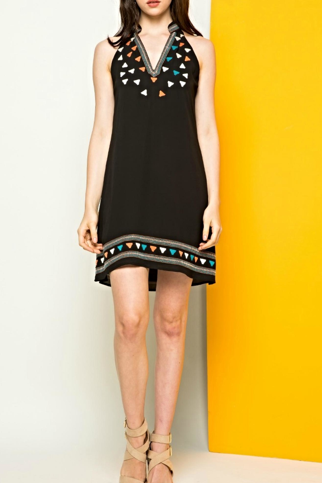 THML Clothing Halter Embroidered Dress - Main Image