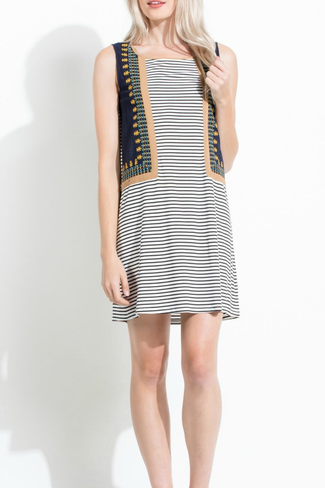 Thml Stripe Embroidered Dress - Main Image