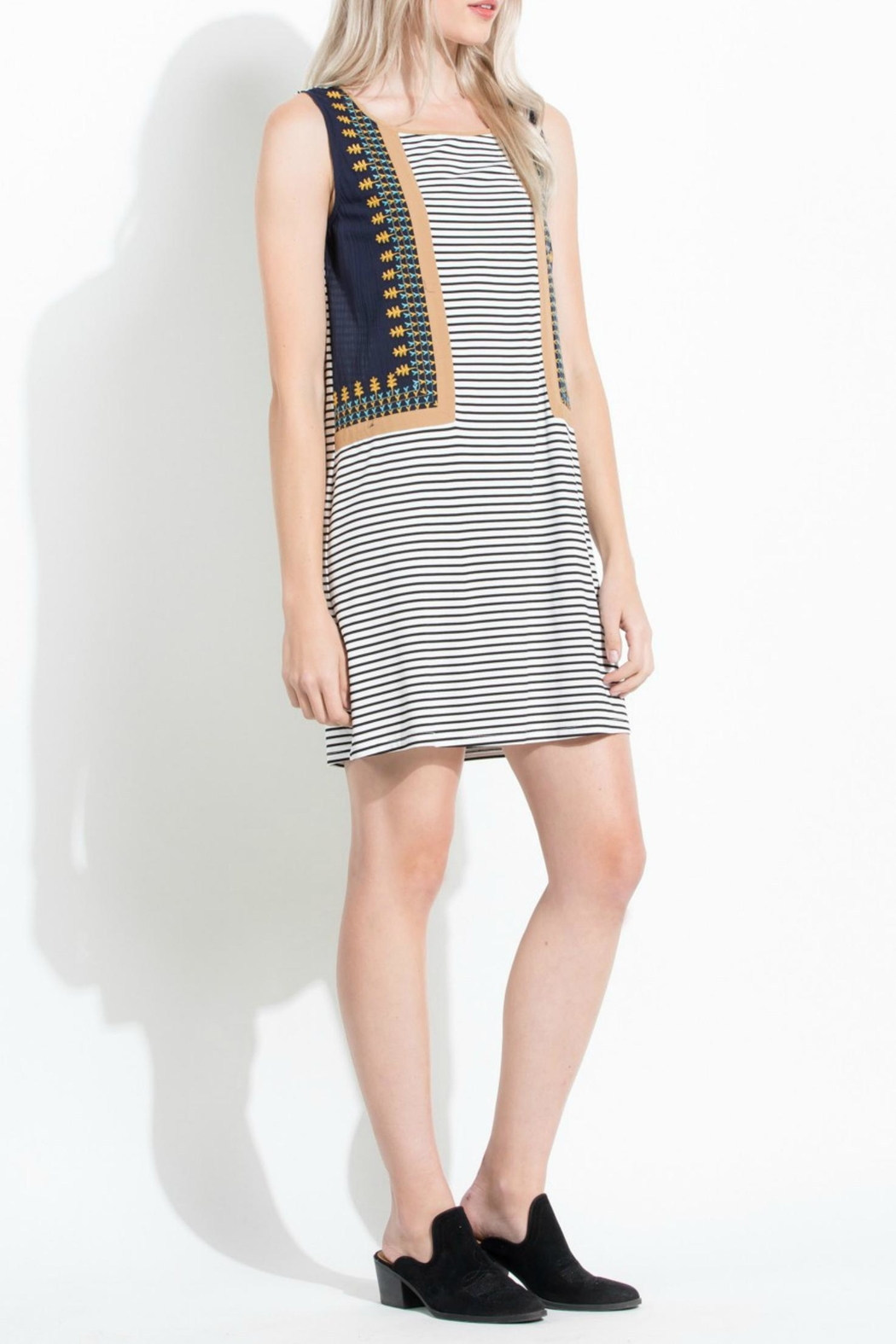 Thml Stripe Embroidered Dress - Front Full Image