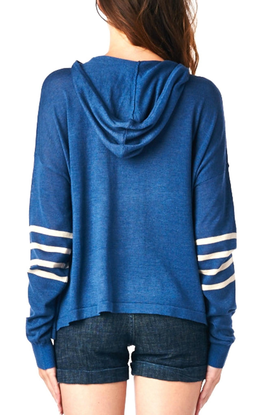 LE SAMPLE Stripe Sweater Hoodie - Front Full Image