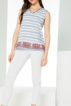 Shoptiques Product: Striped Embroidered Top