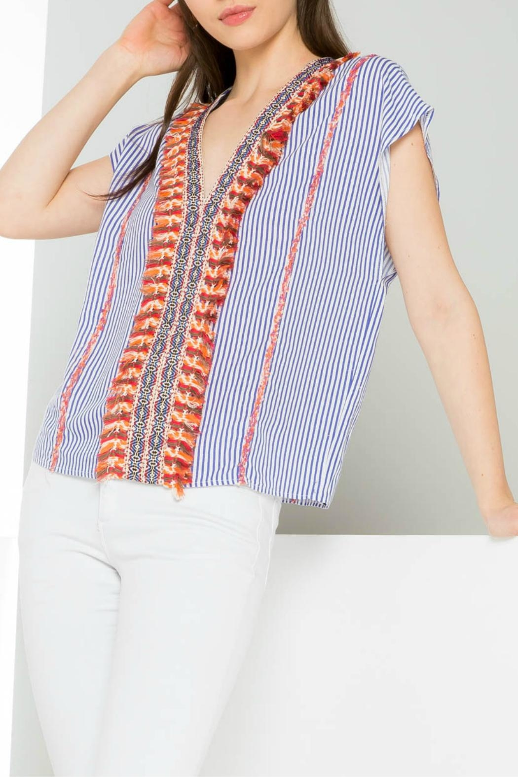 Thml Striped Embroidered Top - Main Image