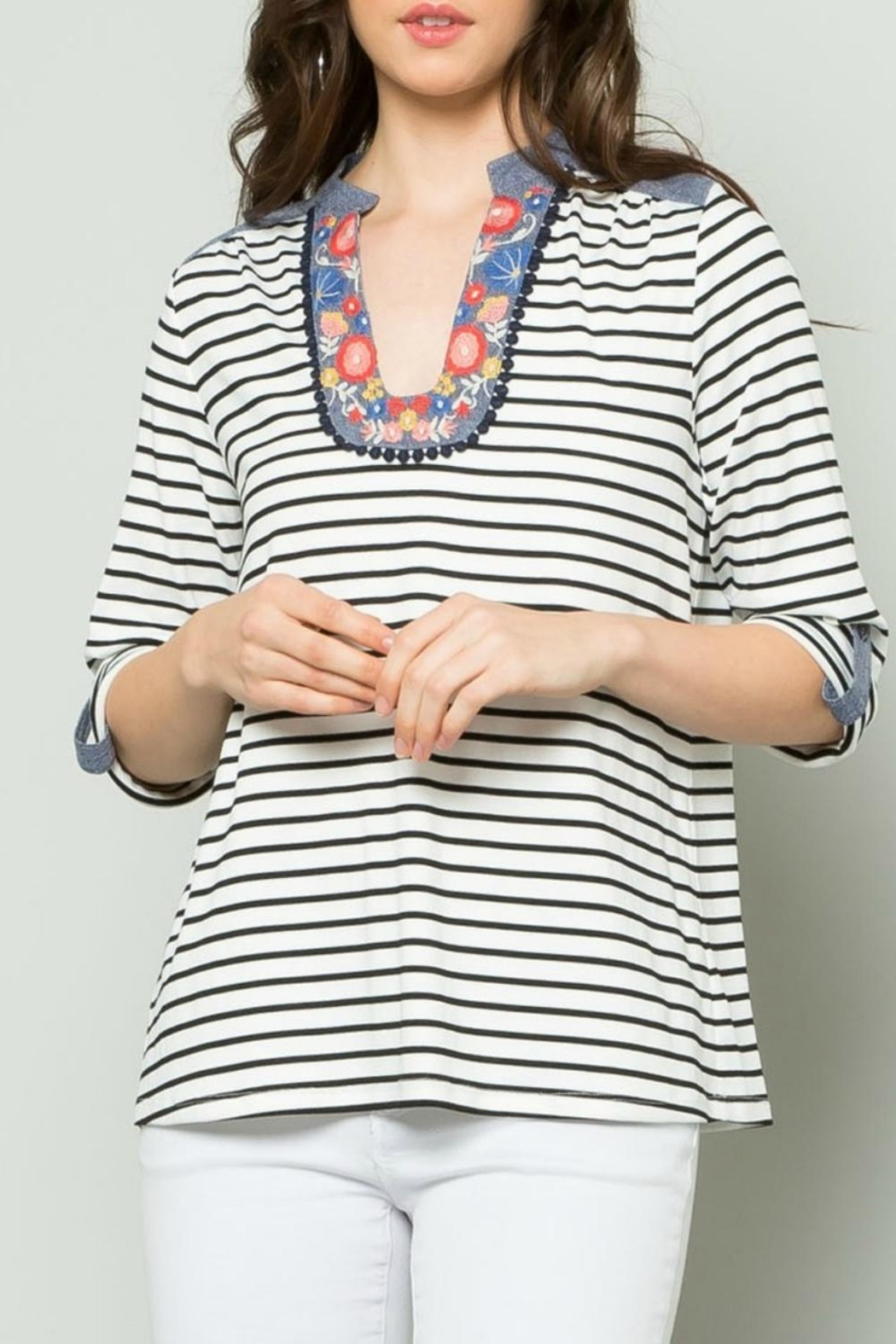 THML Clothing Striped Raglan Top - Main Image