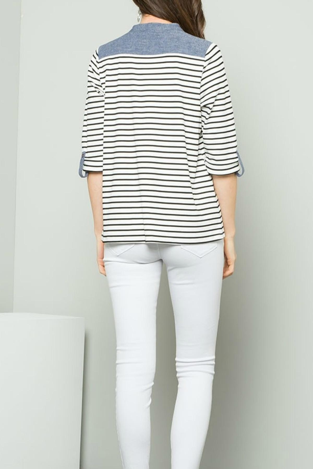 THML Clothing Striped Raglan Top - Front Full Image