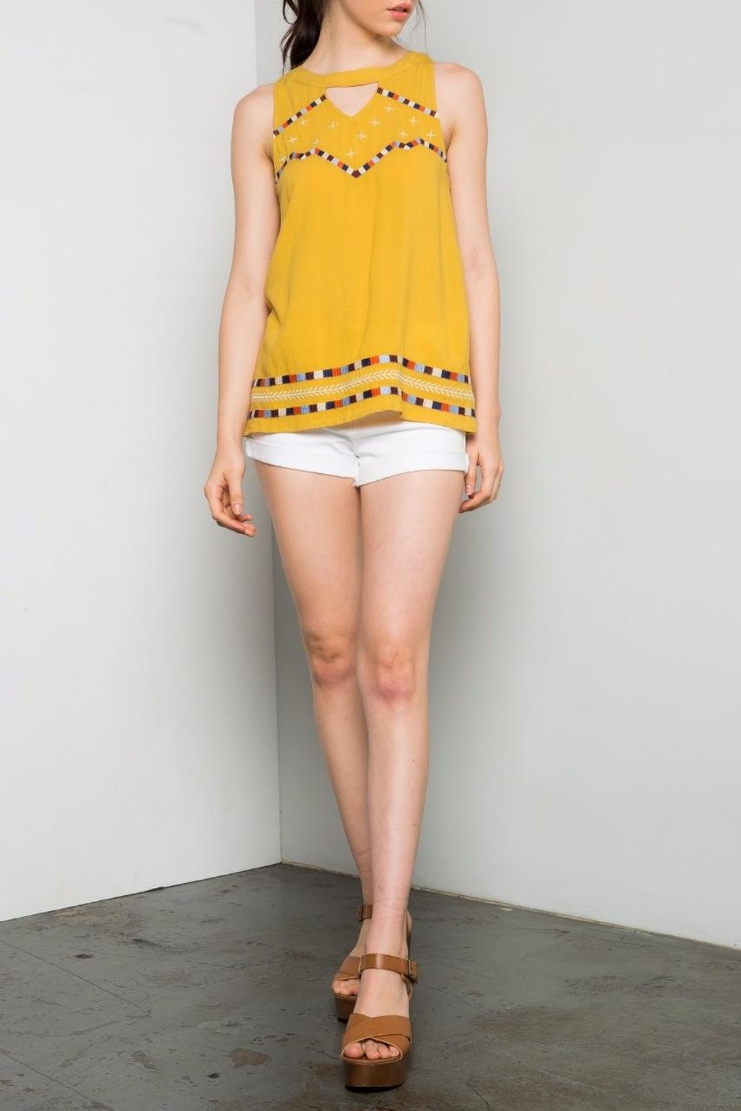 Thml Yellow Embroidered Top - Main Image