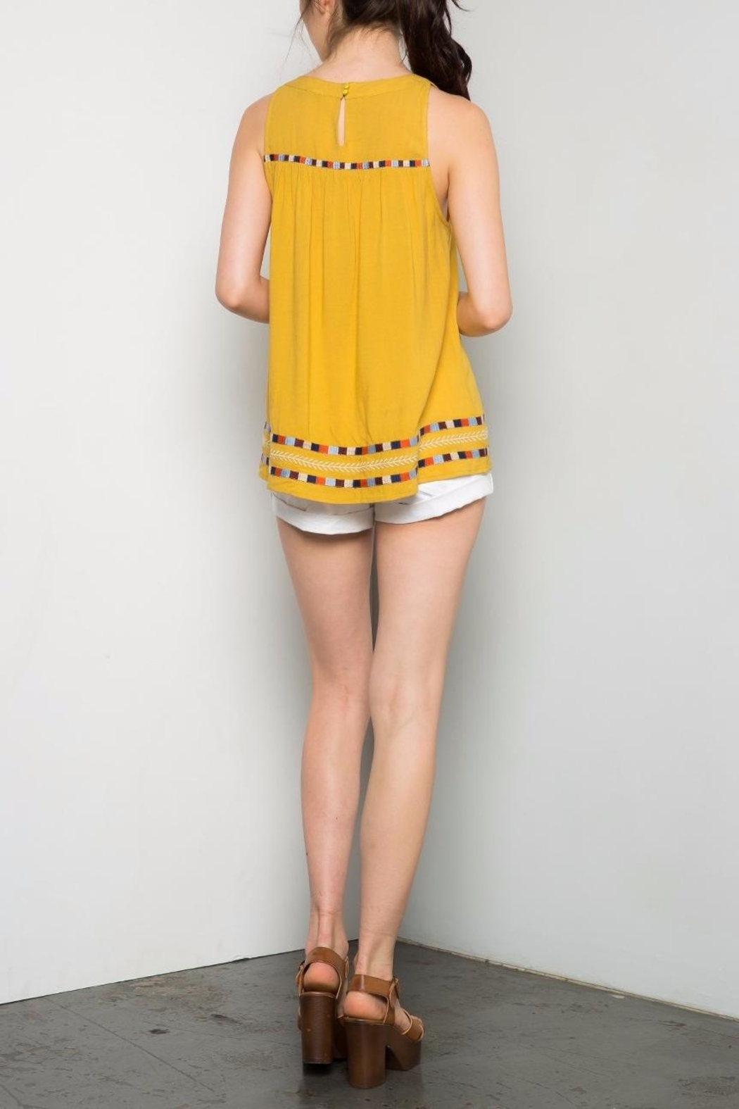 Thml Yellow Embroidered Top - Front Full Image