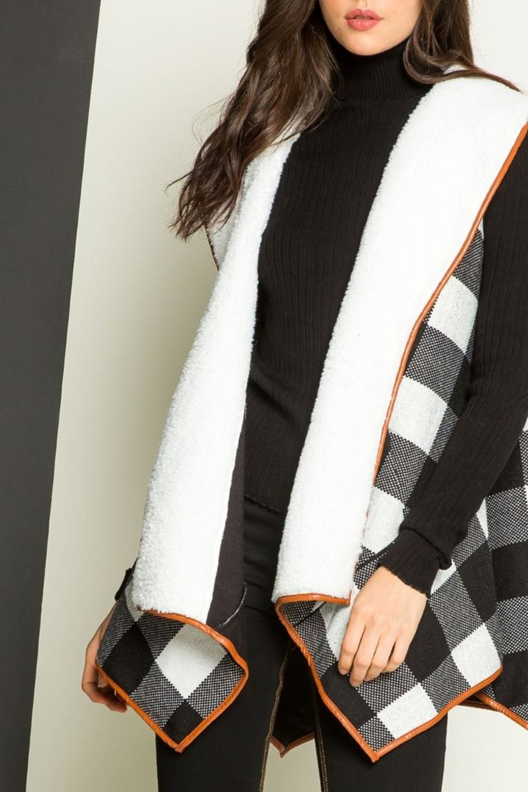 THML Clothing Checkered Shearling Vest - Main Image
