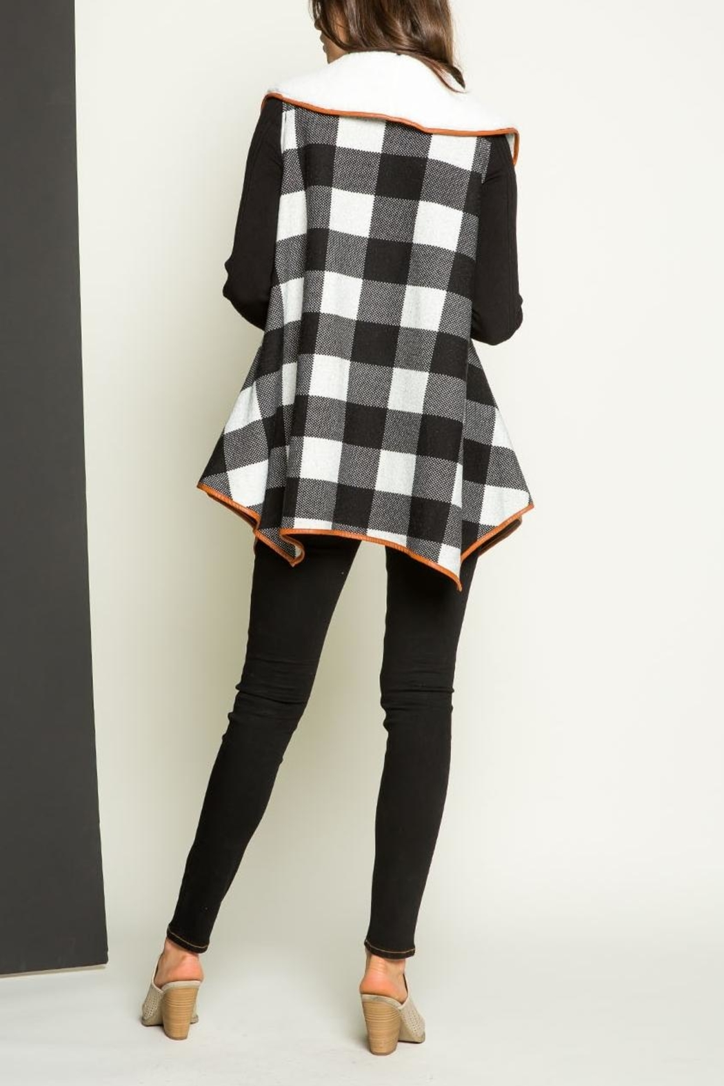 THML Clothing Checkered Shearling Vest - Back Cropped Image