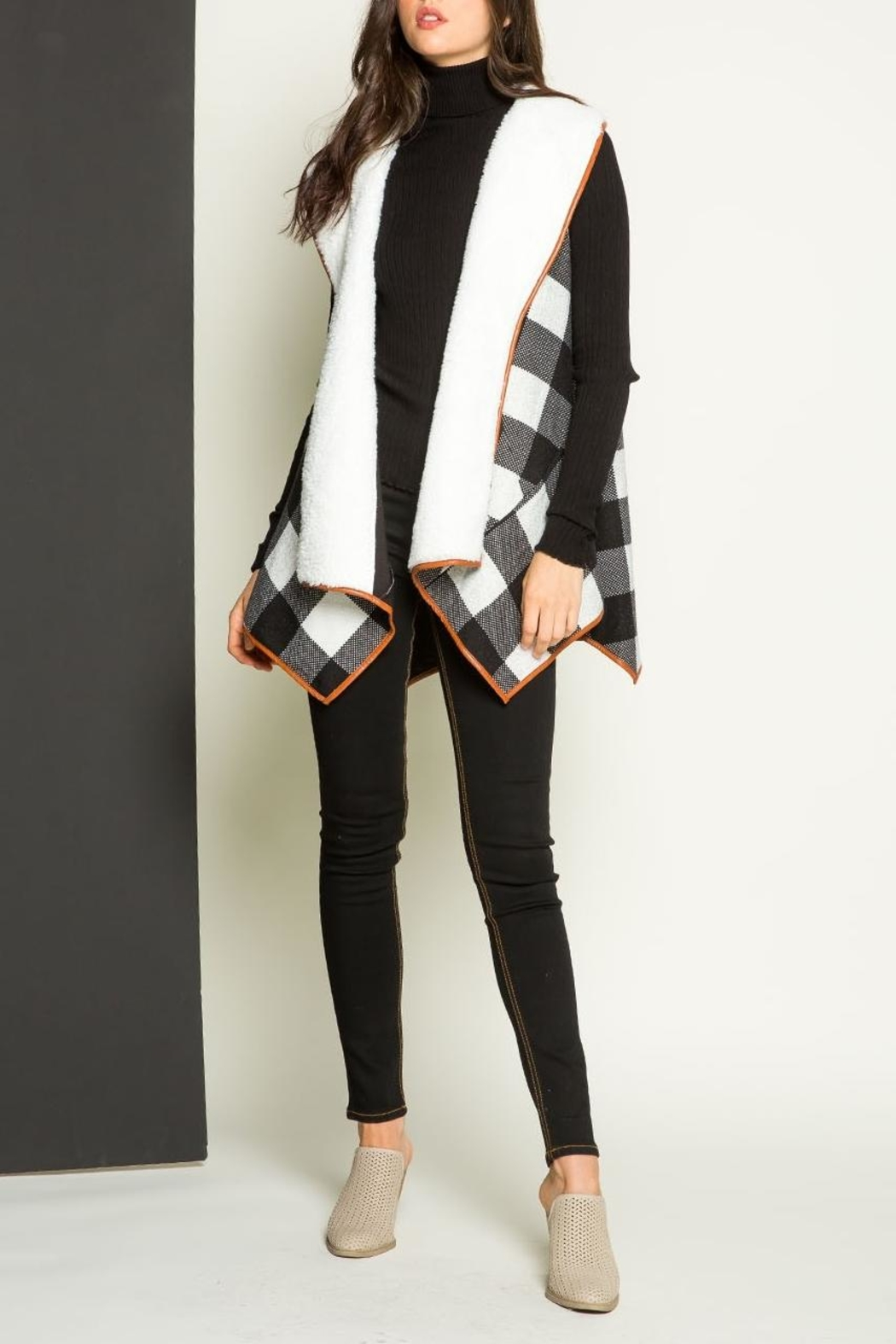THML Clothing Checkered Shearling Vest - Front Full Image