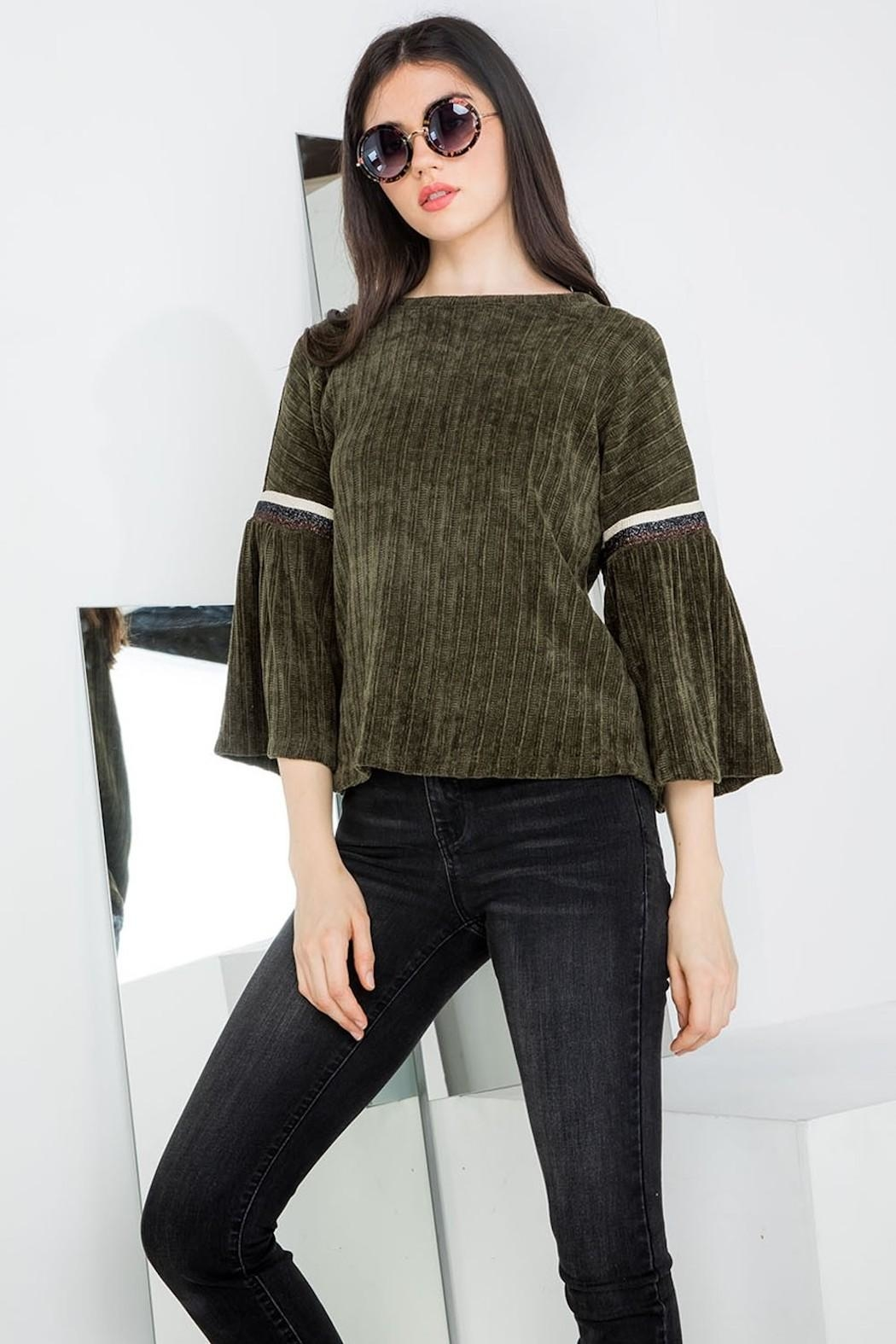 THML Clothing Chenille Bell Sleeve - Front Cropped Image