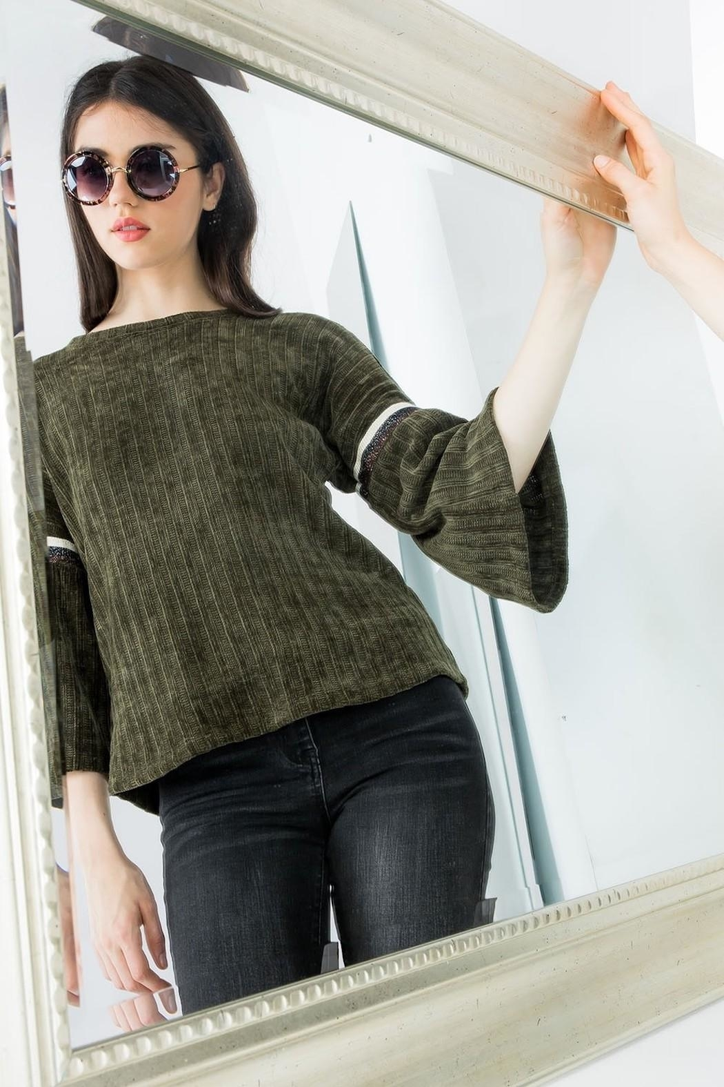 THML Clothing Chenille Bell Sleeve - Back Cropped Image