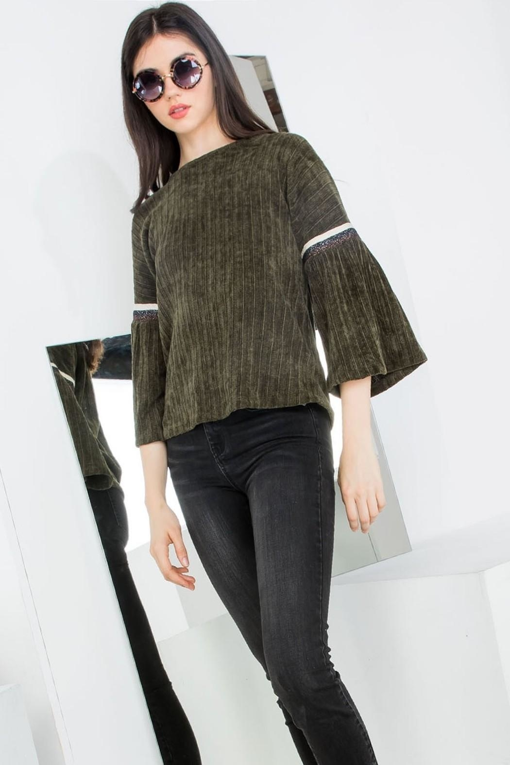 THML Clothing Chenille Bell Sleeve - Front Full Image