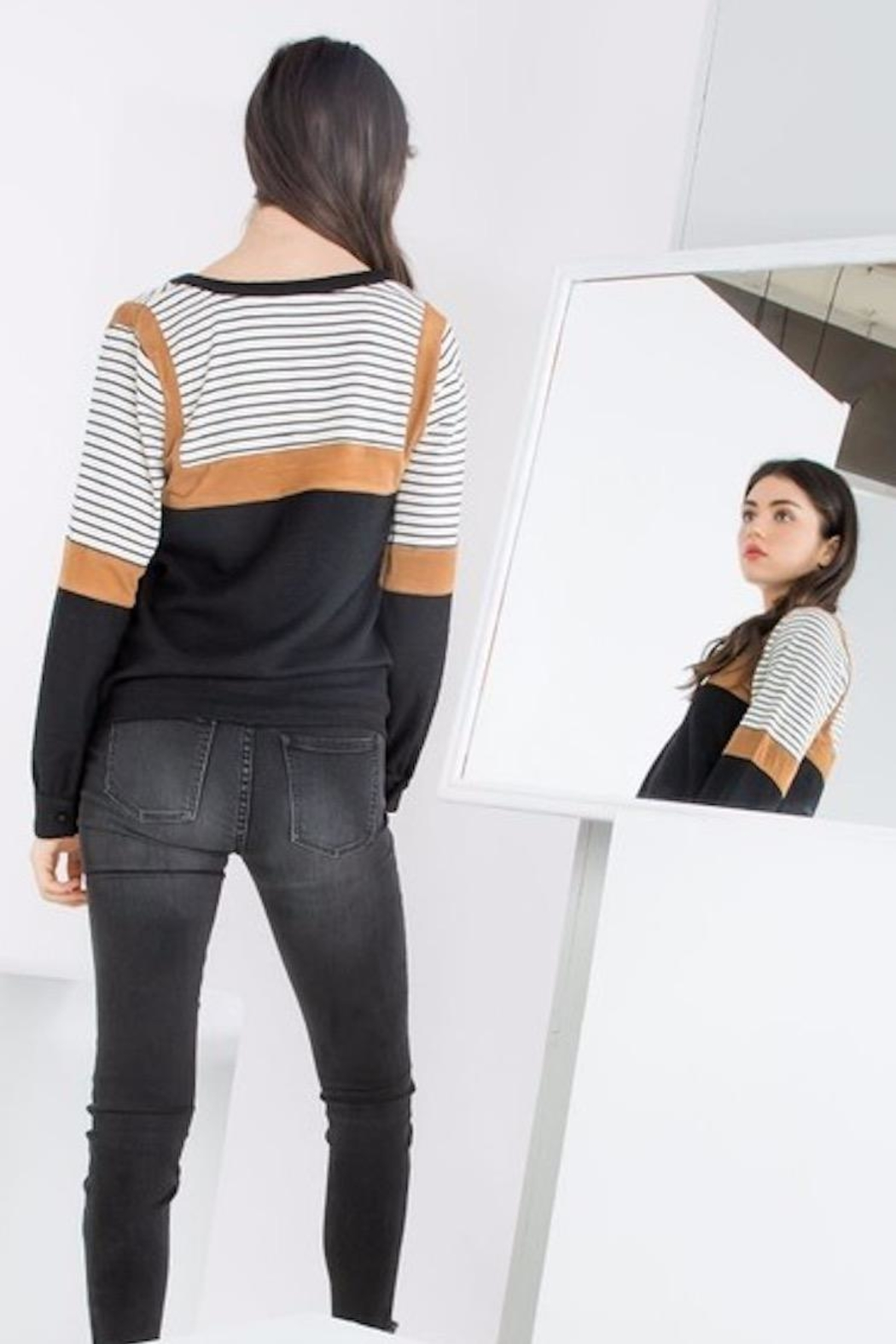 THML Clothing Color Blocked Top - Front Full Image