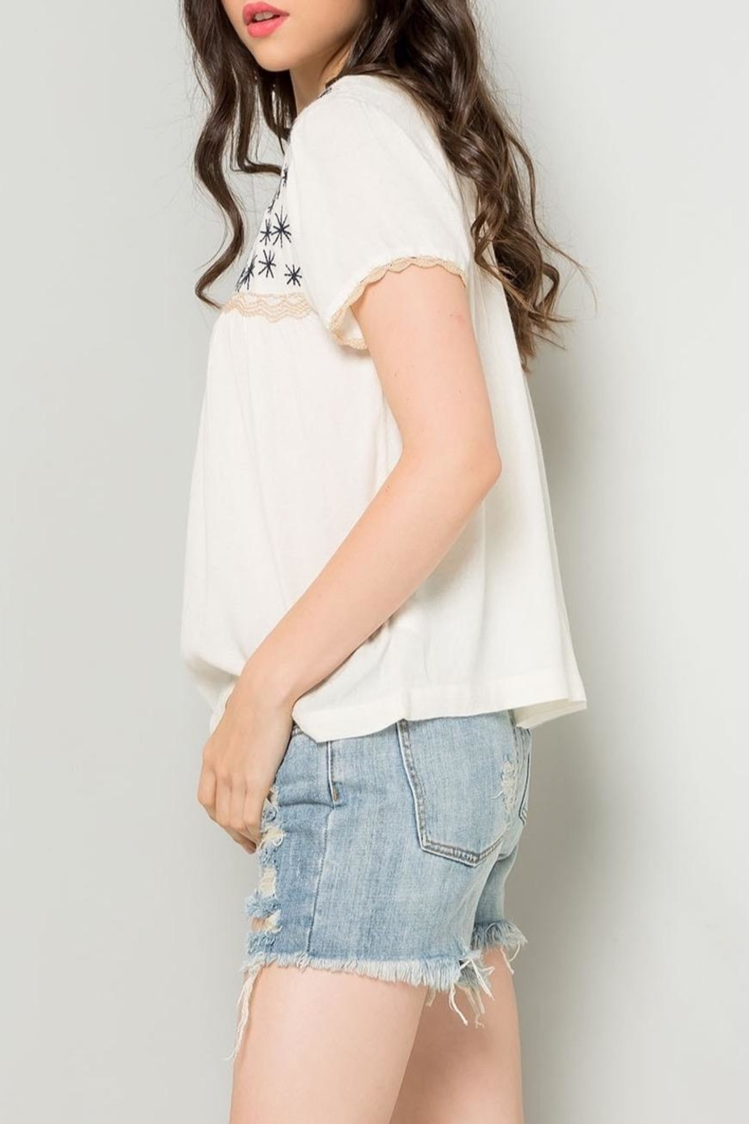 THML Clothing Cream Embroidered Top - Side Cropped Image