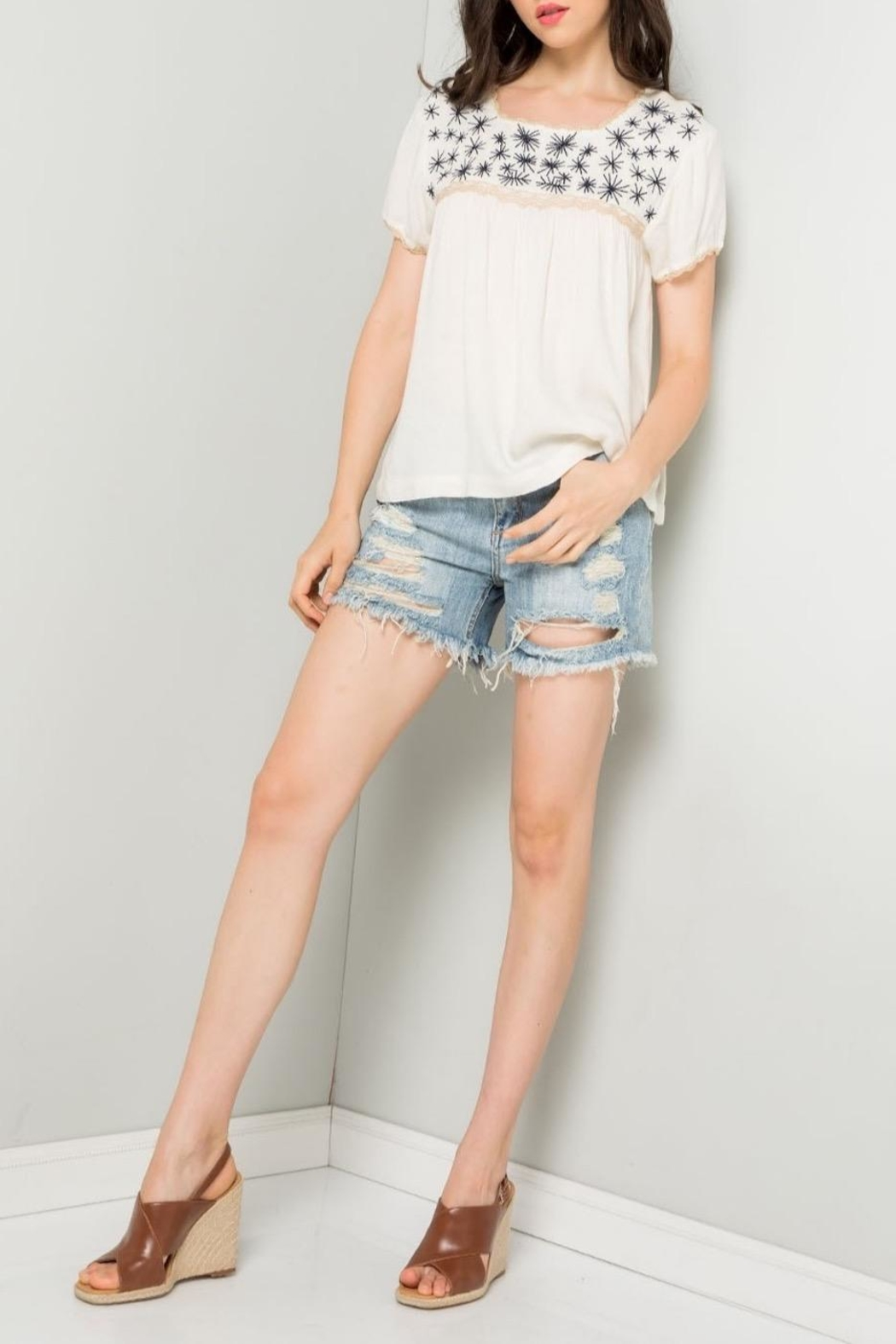 THML Clothing Cream Embroidered Top - Main Image