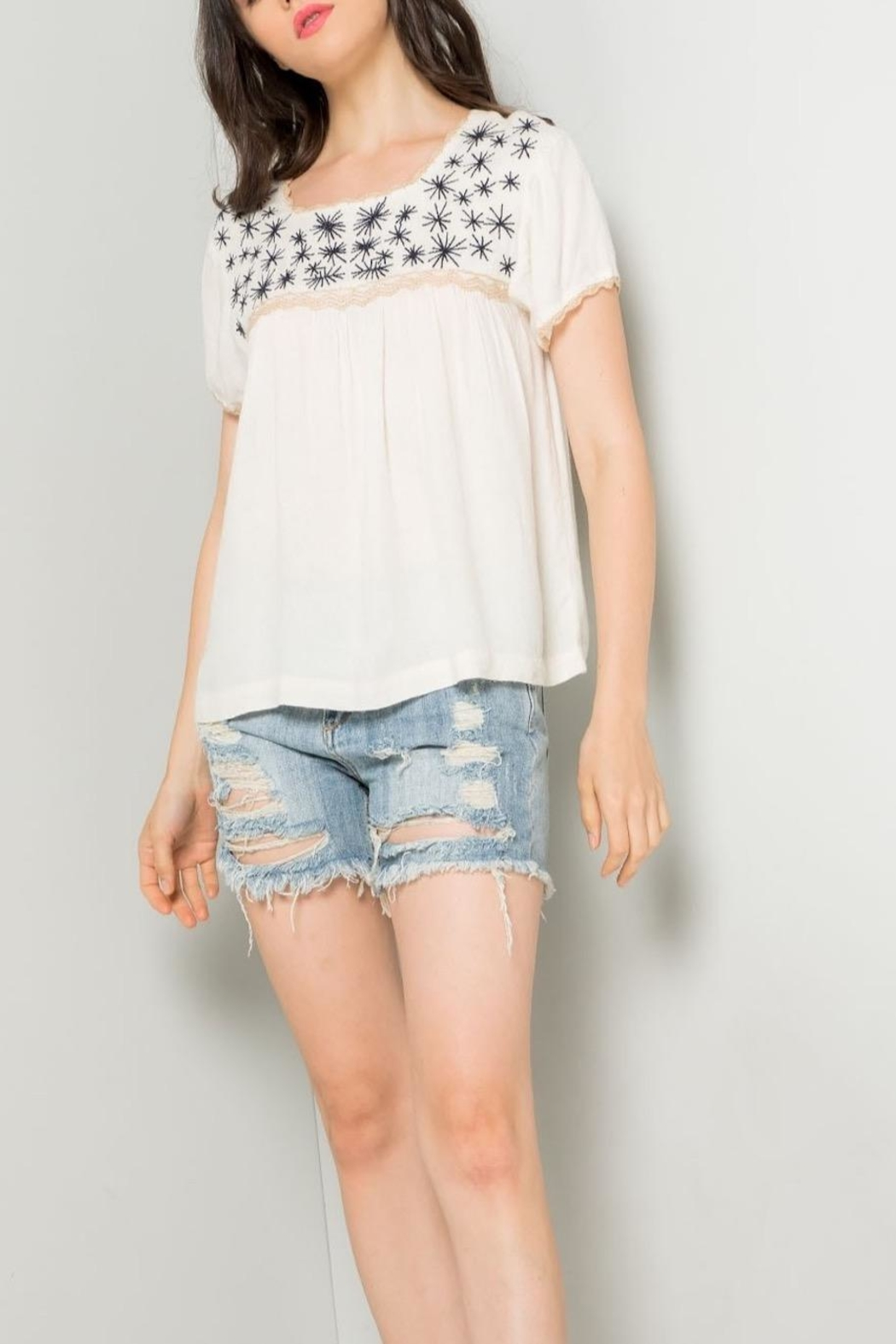 THML Clothing Cream Embroidered Top - Back Cropped Image