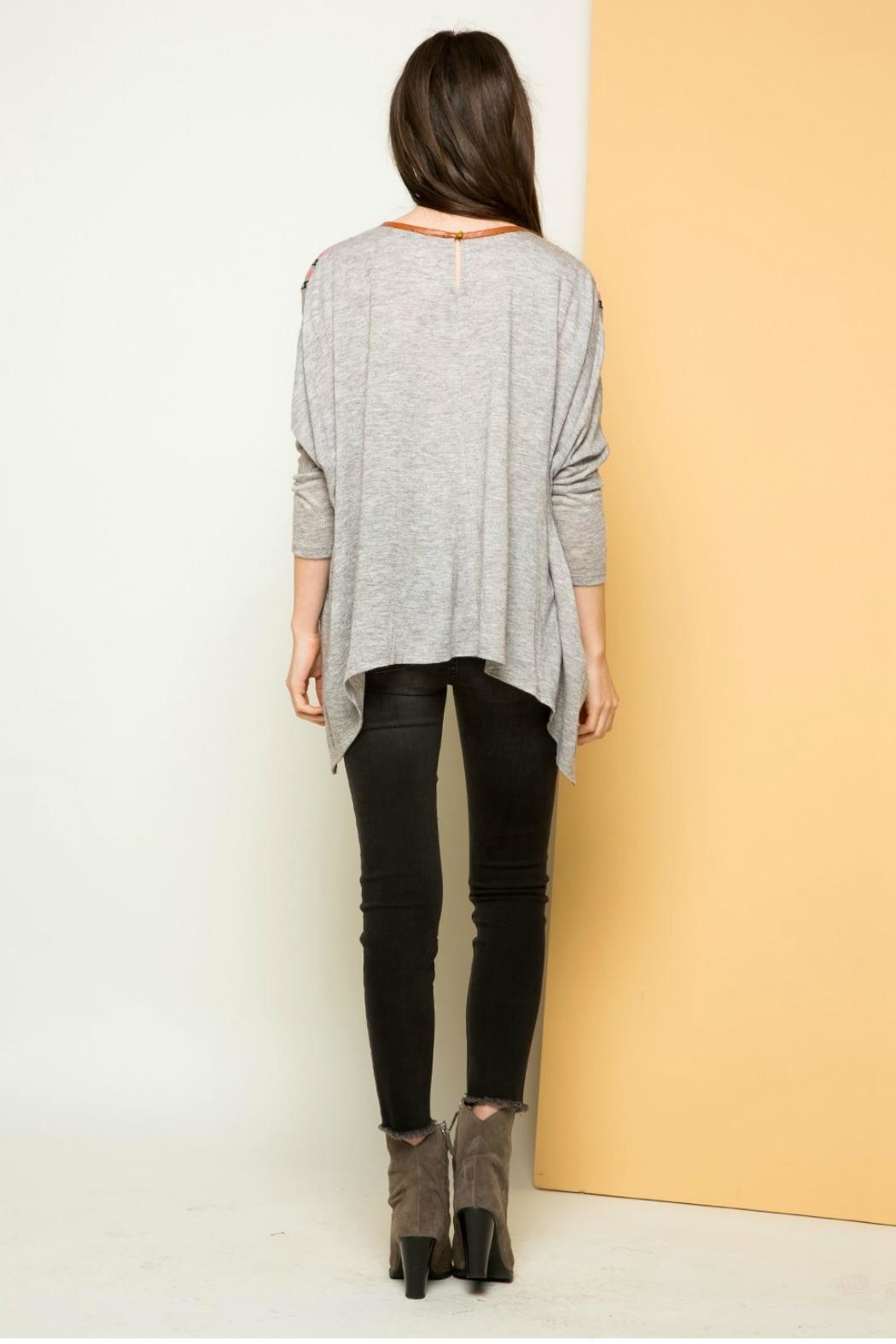 THML Clothing Dolman Embroidered Sweatshirt - Back Cropped Image