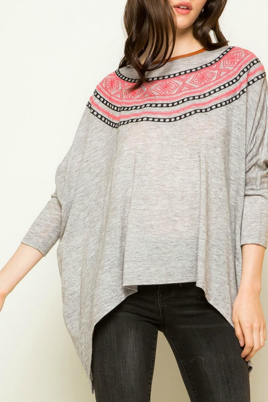 THML Clothing Dolman Embroidered Sweatshirt - Side Cropped Image