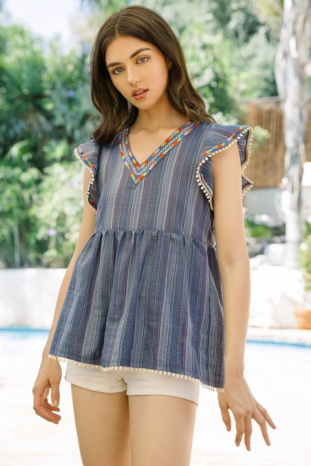 THML Clothing Embroidered Babydoll Top - Main Image
