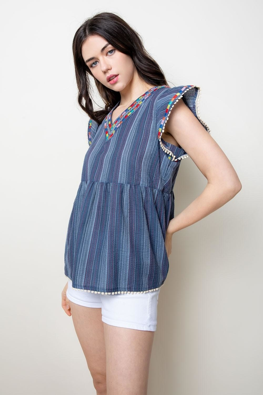 THML Clothing Embroidered Babydoll Top - Front Full Image