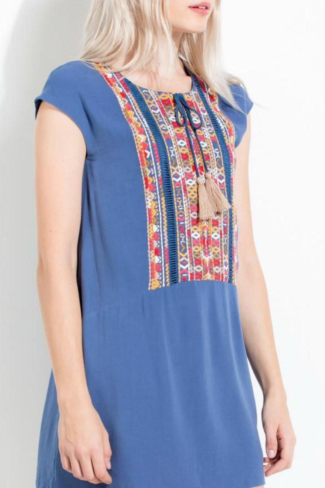 THML Clothing Embroidered Blue Dress - Side Cropped Image