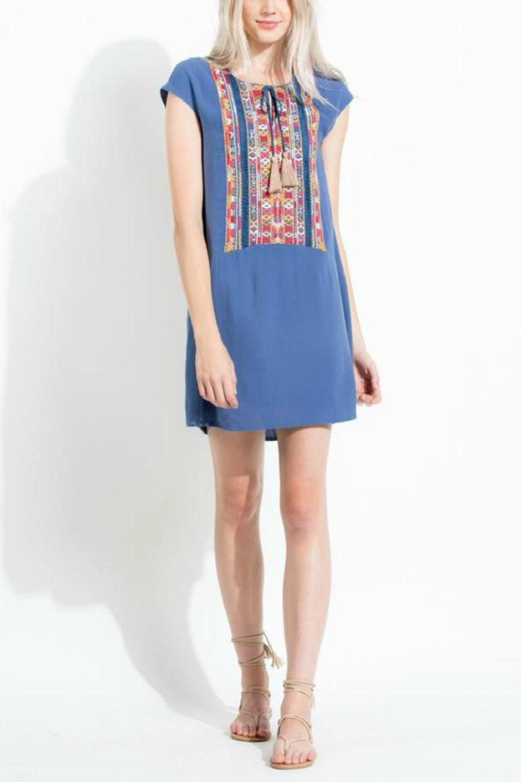 THML Clothing Embroidered Blue Dress - Main Image