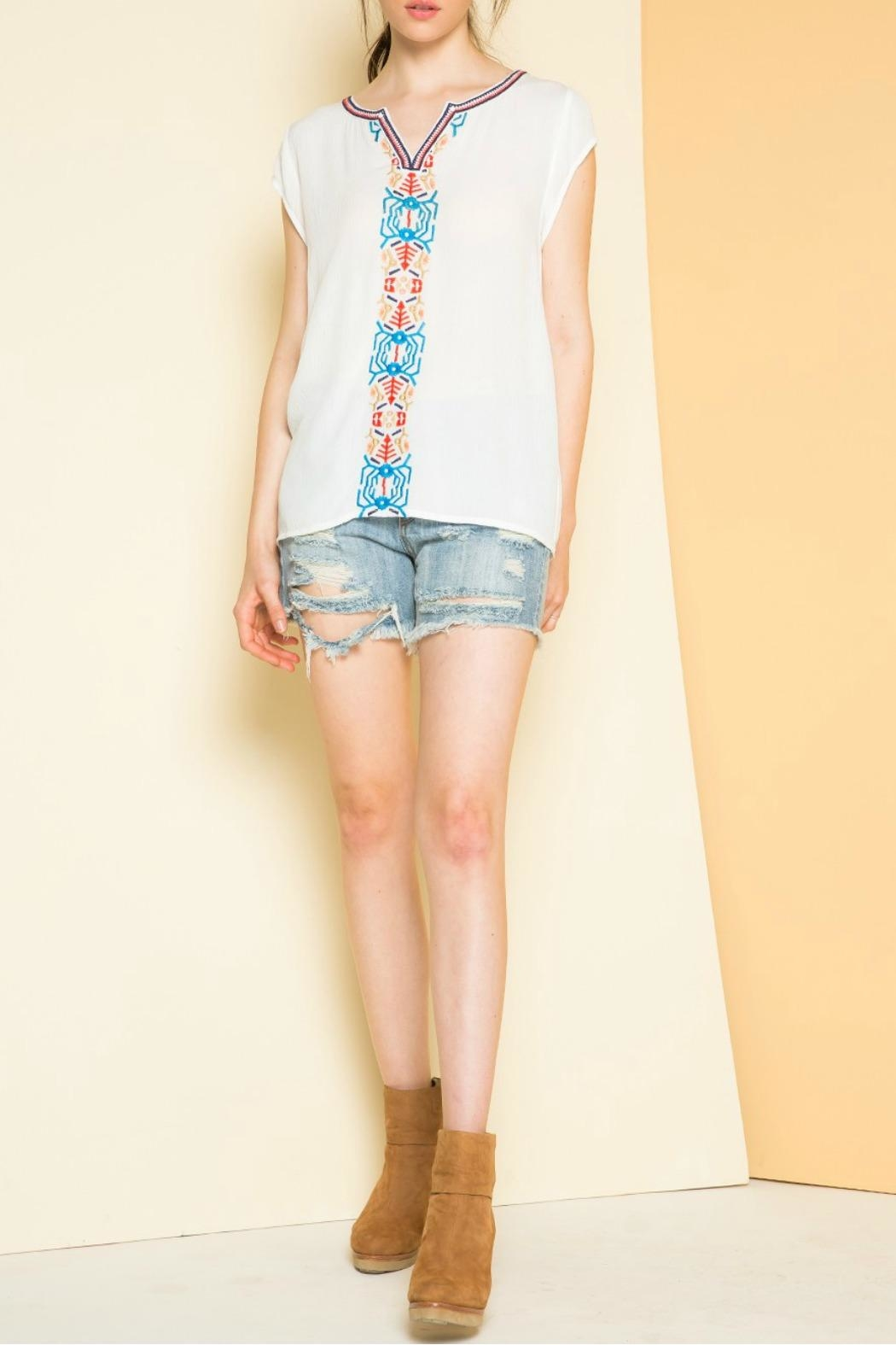 THML Clothing Embroidered Cap Sleeve Top - Front Cropped Image