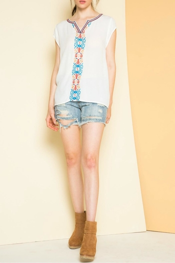 THML Clothing Embroidered Cap Sleeve Top - Main Image