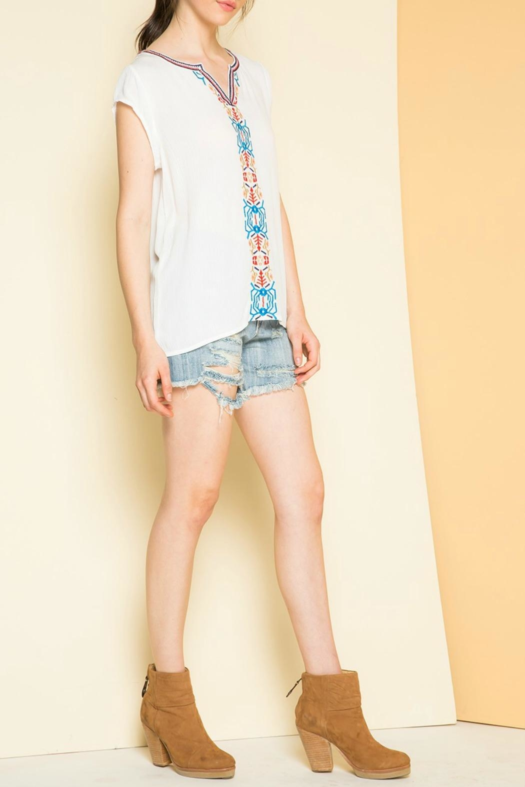 THML Clothing Embroidered Cap Sleeve Top - Front Full Image
